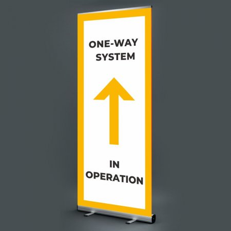 Pull Up Banner - One Way System in Operation