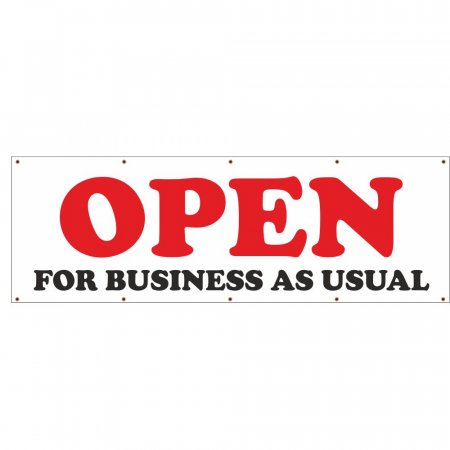 Open for Business As Usual PVC Banner