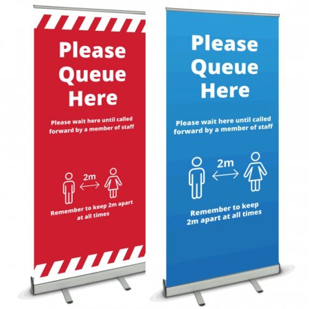 Pull Up Banner - Please Queue Here