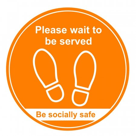 Please Wait to be Served Floor Markers - Amber