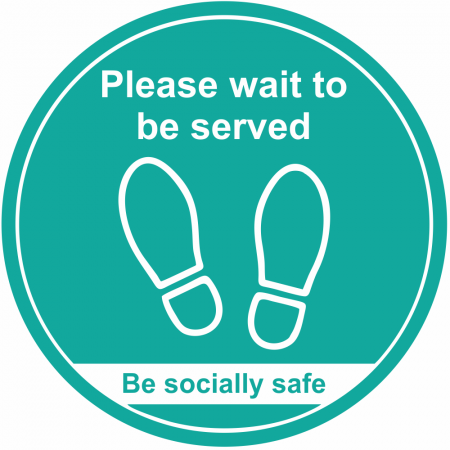 Please Wait to be Served Floor Markers - Turquoise