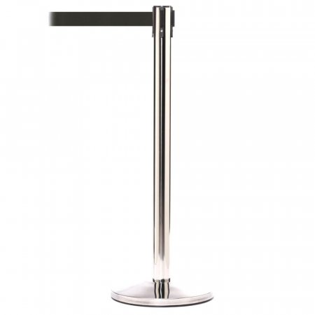 Polished Stainless Steel Post with Black Retractable Belt