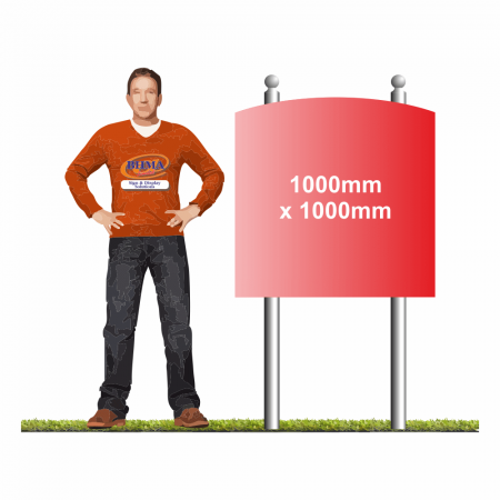 Post Mounted Arched Top Sign 1000 x 1000mm