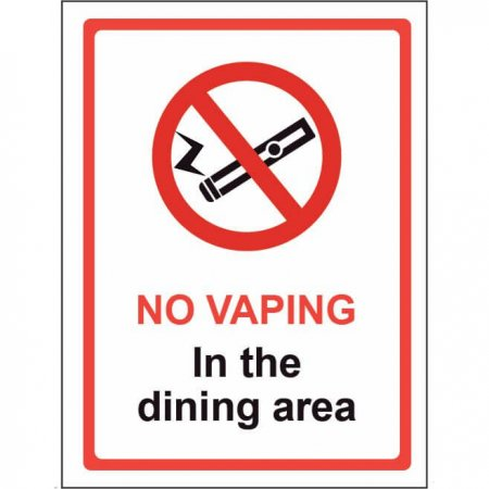 Plastic - No Vaping in the Dining Area Sign