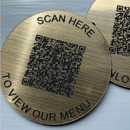 Brass Effect Table Disc with QR Code
