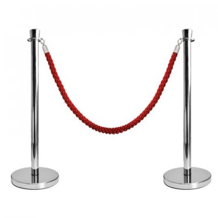 Rope Stand Kit - 2 x Polished Chrome - 1 x Red Twisted Rope