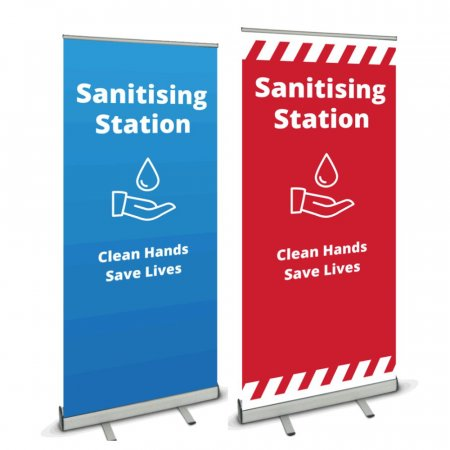 Pull Up Banner - Sanitising Stations