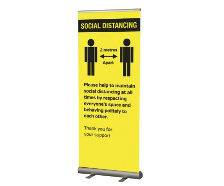 Social Distancing Pull Up Banner