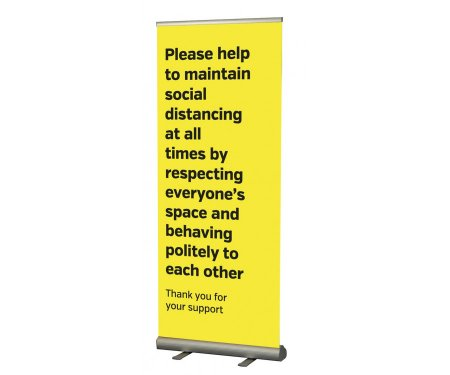 Maintain Social Distancing Pull Up Banner