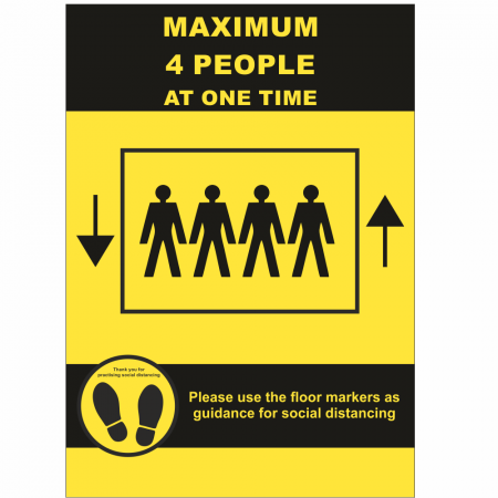 Maximum 4 People Allowed in the Lift Sign