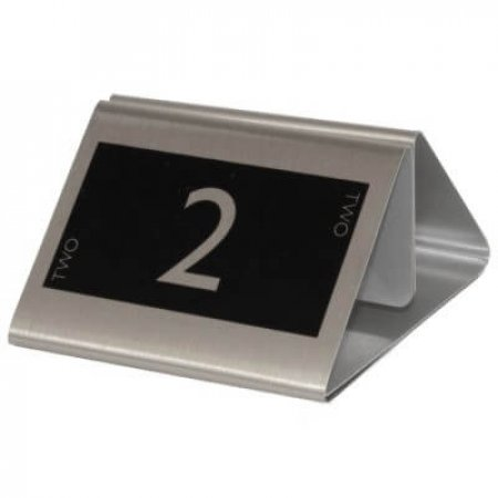 Brushed Silver Menu Holder with Printed Table Number