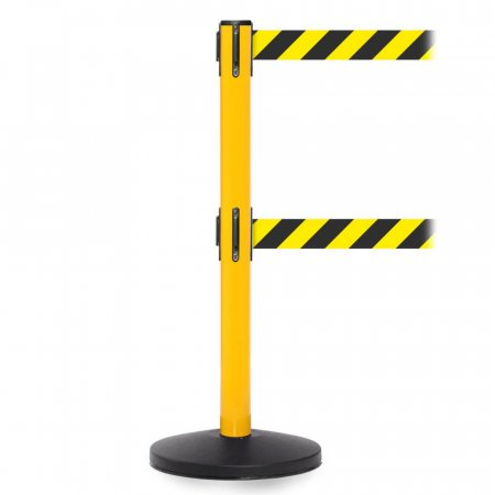Safetymaster Twin Retractable Safety Barrier - Yellow Post - Chevron Belt