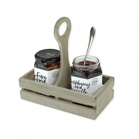 Small Wooden Table Caddy with Jams