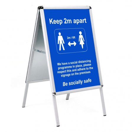 Social Distancing Outdoor Posters - A1 in Snap Frame A-board