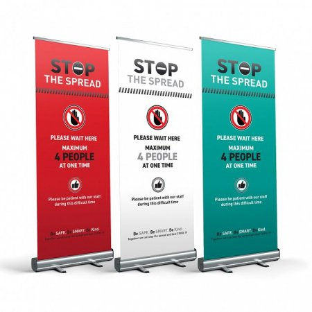 Stop The Spread - Max People - Social Distancing Pull Up Banner - Bold Colours
