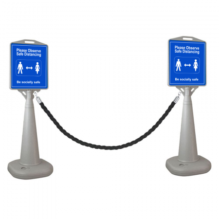 Social Distancing Fillable Sign with Ropes