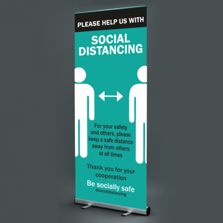 Please Help Us With Social Distancing Pull Up Banner