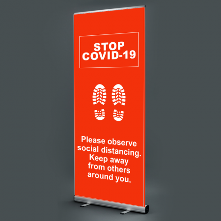 Social Distancing Pull Up Banner - Red