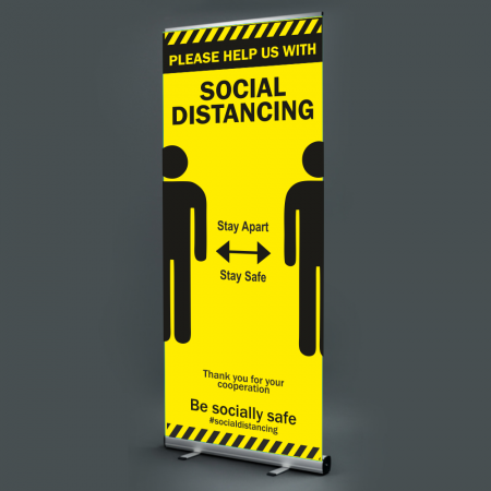 Pull Up Banner - Social Distancing - Hazard Lines