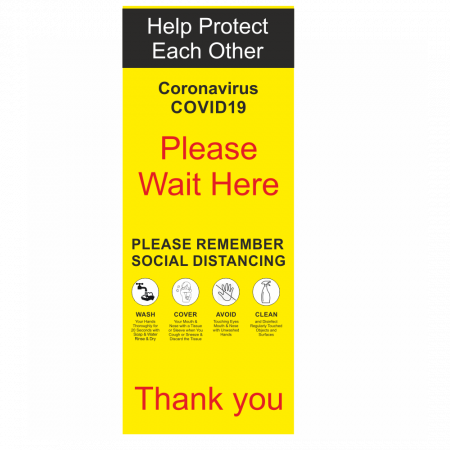 Please Wait Here Social Distancing Pull Up Banner
