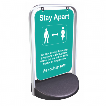 Social Distancing Swinger Pavement Sign - Turquoise