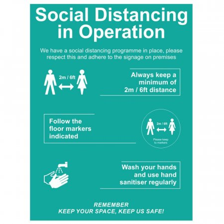 Social Distancing Entrance Signs - Social Distancing in Operation
