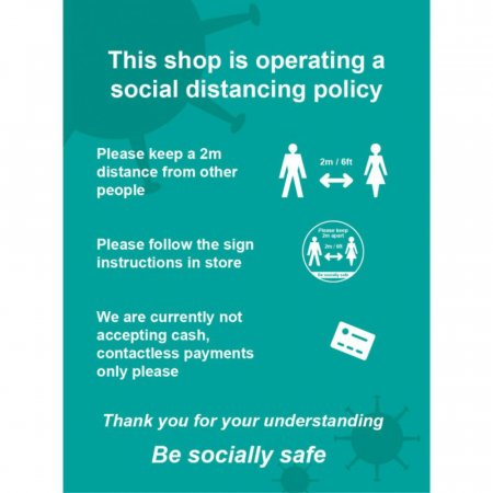 This Shop Is Operating A Social Distancing Policy Sign
