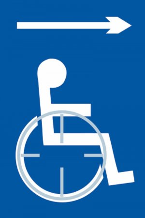 Disabled Access (with right arrow) Braille Sign