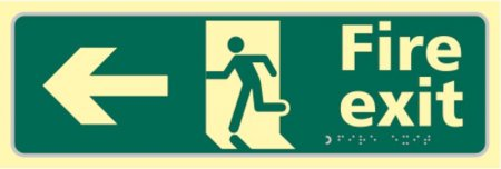 Fire Exit Photoluminescent Braille Sign