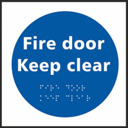 Fire Door Keep Clear Braille Sign