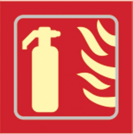 Fire Extinguisher Photoluminescent Braille Sign