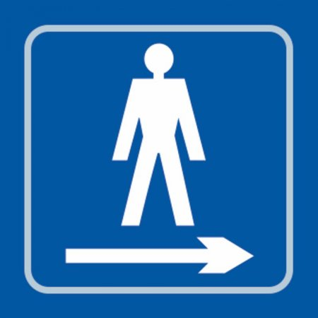Gentlemens Toilet (with right arrow) Braille Sign