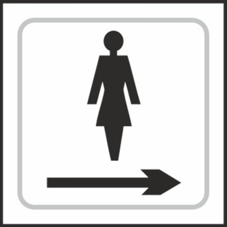 Ladies Toilet (with right arrow) Braille Sign