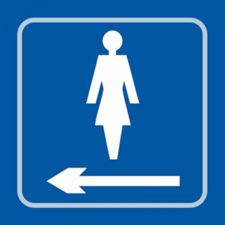 Ladies Toilet (with left arrow) Braille Sign