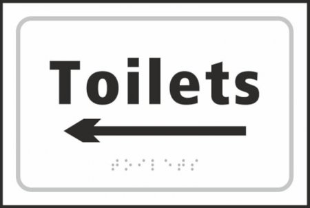 Toilets (with left arrow) Braille Sign