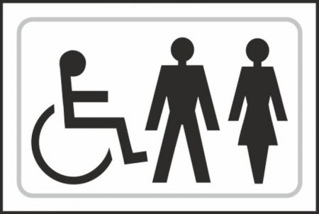 Disabled, Gentlemens and Ladies Toilet Braille Sign