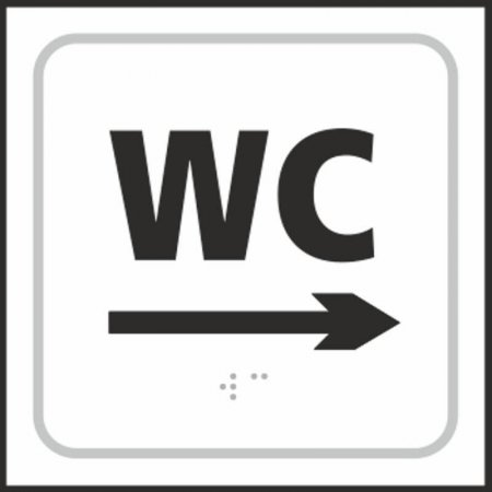 WC Toilet (with right arrow) Braille Sign
