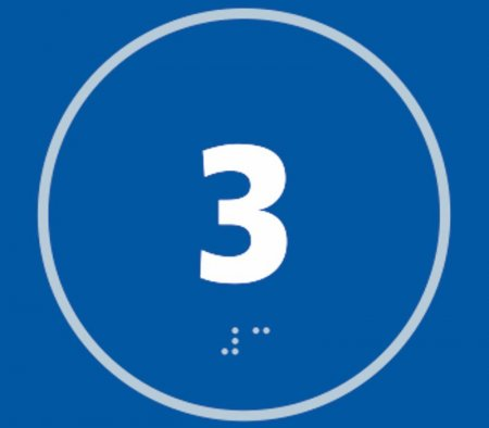 Number Three Braille Sign