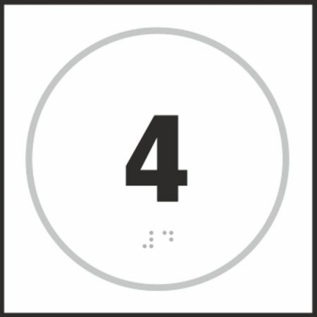 Number Four Braille Sign