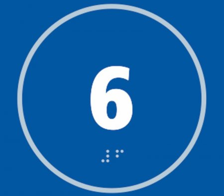 Number Six Braille Sign