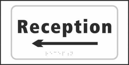 Reception (with left arrow) Braille Sign