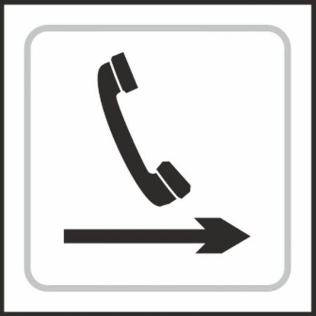 Telephone (with right arrow) Braille Sign