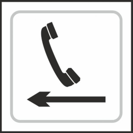 Telephone (with left arrow) Braille Sign