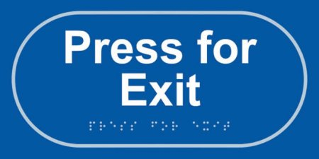 Press for Exit Taktyle Braille Plastic Sign, Self-Adhesive, Blue