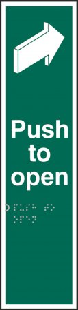 Push to Open Braille Sign