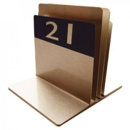 Gold Triple Channel Menu Holder with Number