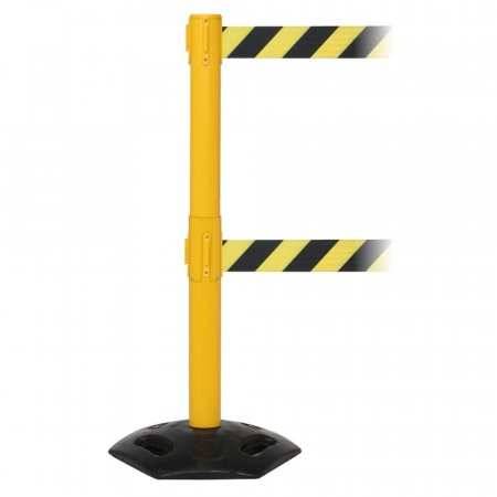 Weathermaster Twin Retractable Safety Barrier - Yellow Post
