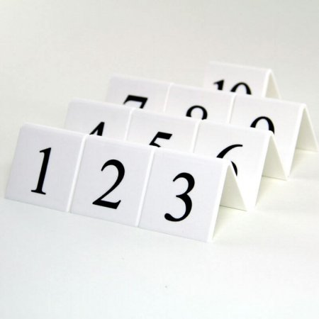 White Table Numbers 1-10