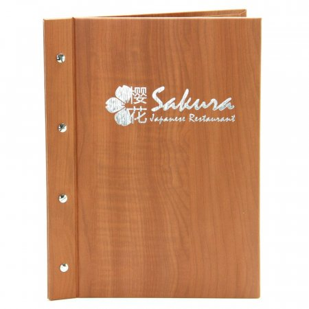 Cherry Menu Cover with Silver Foil & Silver Screw Fixings