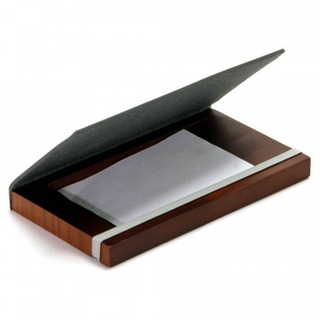 Leather & Wood Receipt & Coin Holder - with Receipt